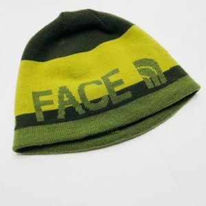 North Face Reversible Logo Beanie Green Yellow